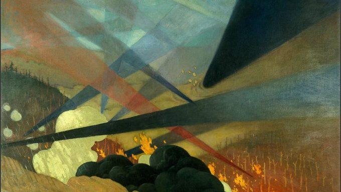 Vallotton - Verdun. Tableau de guerre interprété, projections colorées noires, bleues et rouges, terrains dévastés, nuées de gaz.jpg